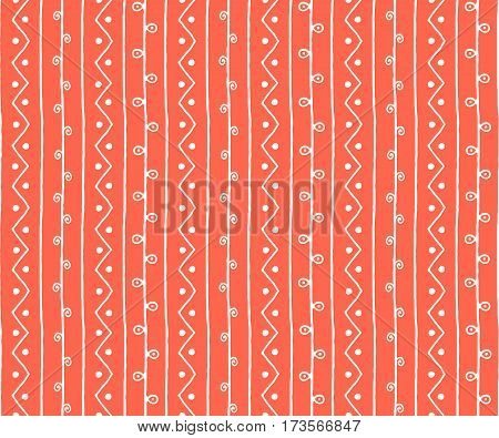 Seamless spring sketch vector pattern. White vertical twigs lines and zigzags with circles on orange background. Hand drawn abstract branch illustration