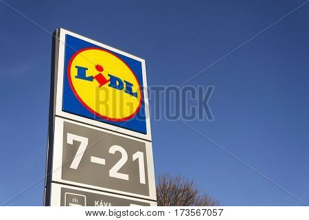Prague, Czech Republic - February 25: Lidl Company Logo In Front Of Supermarket From German Chain, P