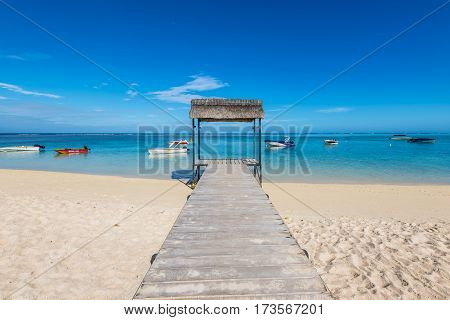 Le Morne Mauritius - December 11 2015: Beautiful gazebo on the tropical white sandy beach in the Le Morne Bay Mauritius.