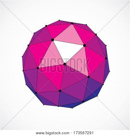3D Vector Digital Wireframe Spherical Object Made Using Triangular Facets. Geometric Polygonal Struc