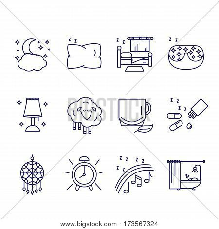 The icons in the style of the outline of the characters of healthy sleep and insomnia. Vector illustration.