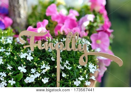 Finally word wedding decoration on background colored flowers