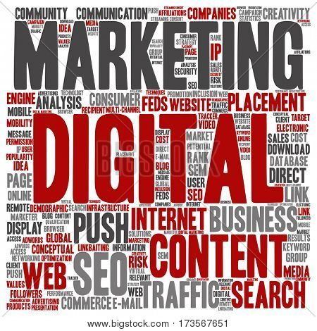 Concept or conceptual digital marketing seo or traffic square word cloud isolated on background