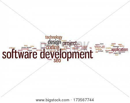 Concept or conceptual software development project coding technology abstract word cloud isolated on background