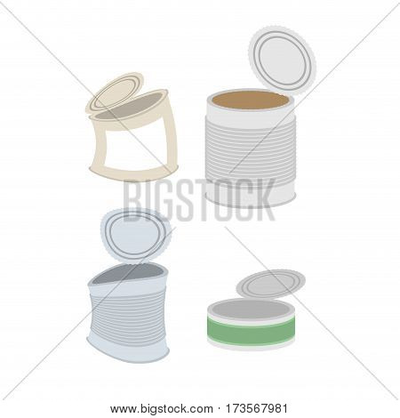 Tin Crushed Garbage Set. Can Rubbish On White Background
