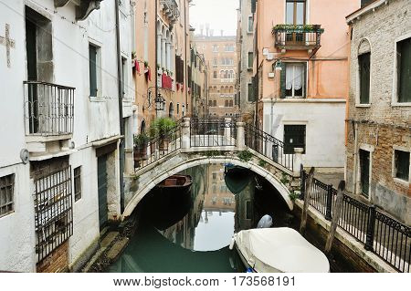 Canal bridge and buildings in Venice Italy Europe