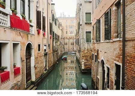 Picturesque view of venetian canal Venice Italy Europe