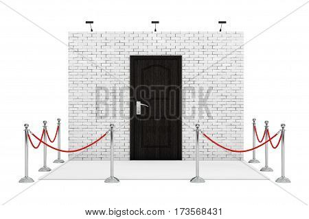 Barrier Rope Around Trade Show Booth with Wooden Door on a white background. 3d Rendering.
