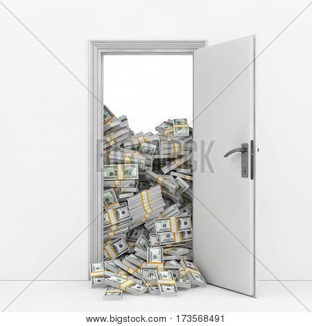 Wealth Concept. Opening Door with Heap of Dollar Bills extreme closeup. 3d Rendering.