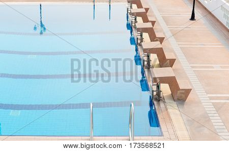 start place of outdoor competition swimming pool healthy concept