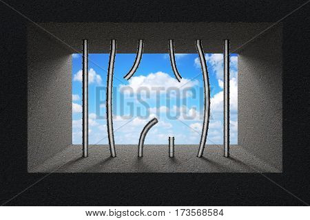Sky Seen Through Broken Jail Bars in Prison Window extreme closeup. 3d Rendering.