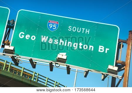 Directional sign of Interstate 95 South towards George Washington bridge, NYC