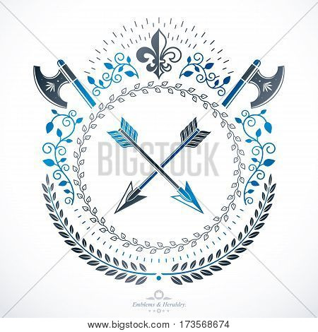 Vintage emblem vector heraldic design with spears and hatchets