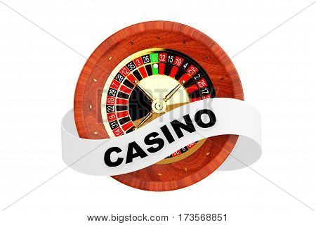 Casino Roulette Wheel with Ribbon Banner and Casino Sign on a white background. 3d Rendering.