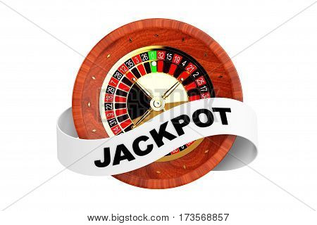Casino Roulette Wheel with Ribbon Banner and Jackpot Sign on a white background. 3d Rendering.