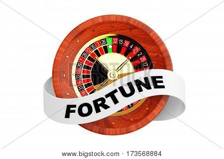 Casino Roulette Wheel with Ribbon Banner and Fortune Sign on a white background. 3d Rendering.