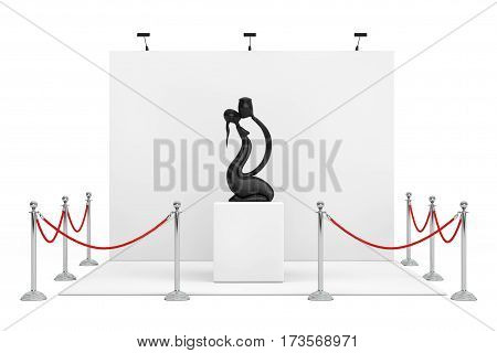 Barrier Rope Around Trade Show Booth with Abstract Wooden Man and Wooman in Love Statue on a white background. 3d Rendering.