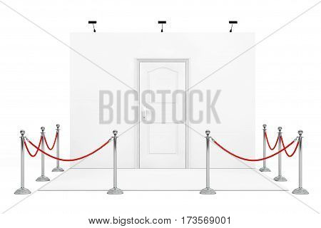 Barrier Rope Around Trade Show Booth with White Door on a white background. 3d Rendering.