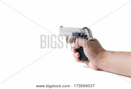 Small Automatic Gun In Hand Man Isolated