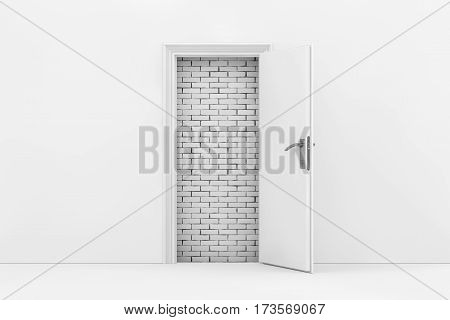 Brick Wall Seen Through White Opened Door extreme closeup. 3d Rendering.