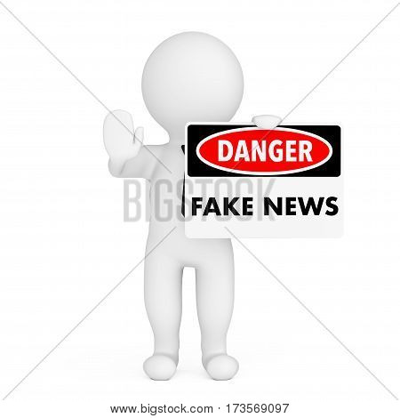 3d Person with Fake News Danger Sign in Hand on a white background. 3d Rendering.