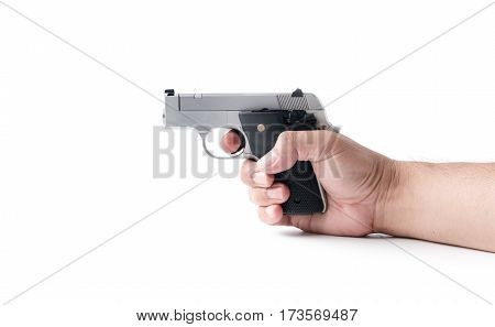 small automatic gun in hand man isolated on white background