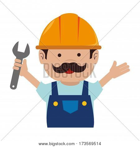 colorful silhouette of half body of worker with wrench vector illustration