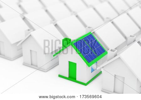 Green House with Blue Solar Panels in among White Houses on a white background. 3d Rendering.
