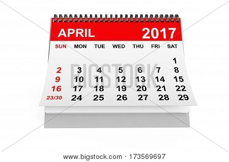 2017 year calendar. April calendar on a white background. 3d rendering