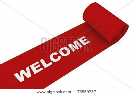 Unrolled Red Carpet with Welcome Sign on a white background. 3d Rendering.