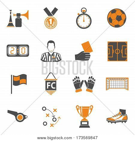 Soccer and Football two color Icons Set with Referee, Ball, stadium and Trophy. isolated vector illustration