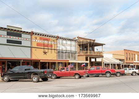 Typical Main street with old brick stores in Texan small town, USA