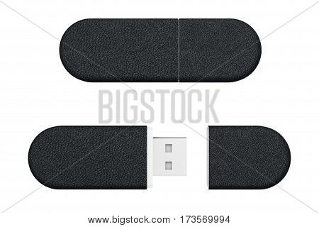Black Leather USB Flash Memory Drives on a white background. 3d Rendering.