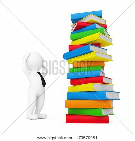 3d Person Stressed near Stack of Books on a white background. 3d Rendering.