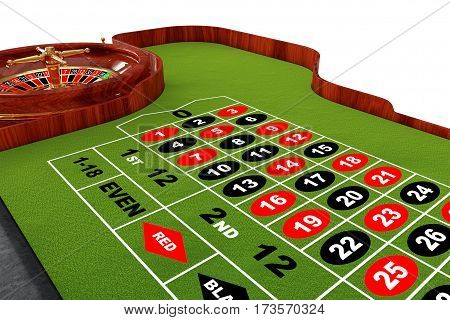 Classic Casino Roulette Table on a white background. 3d Rendering.