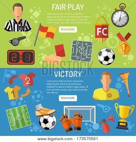 Soccer horizontal Banners with flat icons tournament,  player, referee and award, isolated vector illustration