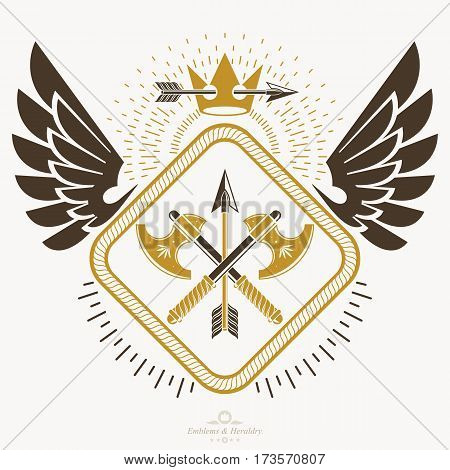 Vintage emblem vector heraldic design with armory and monarch crown