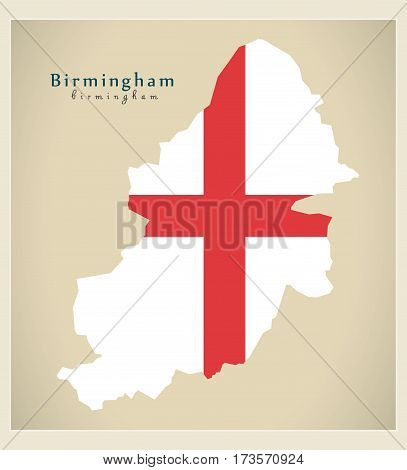 Modern City Map - Birmingham With Flag Of England Illustration