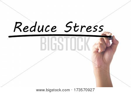 Hand Writing Reduce Stress Word On Transparent Board