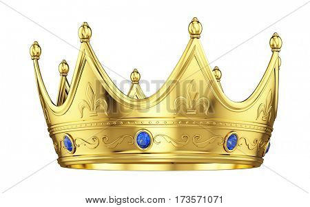 Royal gold crown with sapphires isolated on white. 3d rendering