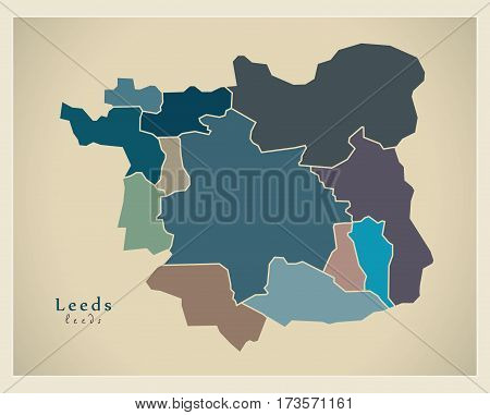 Modern City Maps - Leeds With Boroughs Coloured England Illustration