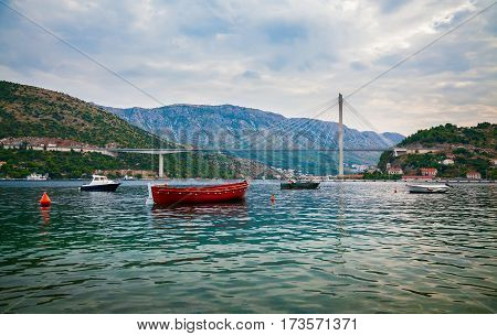 the modern construction of the cable-stayed Tudjman Bridge in Dubrovnik Croatia