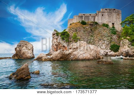 the old Fort Lovrijenac or St. Lawrence in the centre of Dubrovnik Croatia
