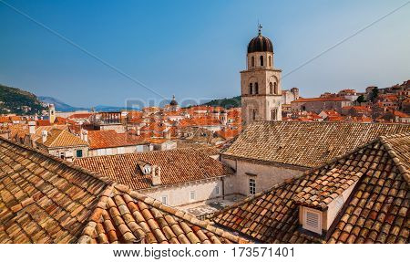 roofs with red tiles in the Old Town of Dubrovnik Croatia