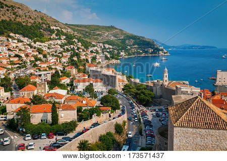 aerial view of the Dubrovnik coastline with small houses from the City Walls Croatia