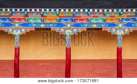 Fragment of building decorations in a Buddhist monastery in Ladakh province of India