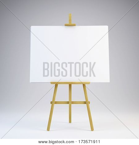 Wooden easel with blank white canvas - 3d rendering