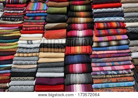 Different Colorful Fabric at market in Peru South America