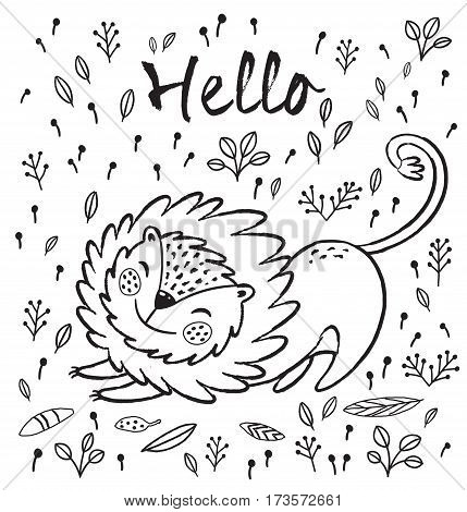 Cartoon character fun lion. Black and white vector illustration. Funny cartoon lion vector print with text - Hello. Character jungle wild lion with tribal feathers for children coloring book