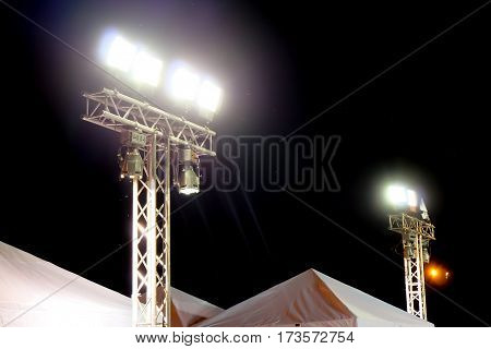 Metal halide lights on poles trust set up lighting in the event.